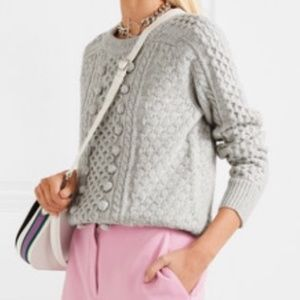J. Crew Popcorn Bobbled Cable Knit Sweater Gray S